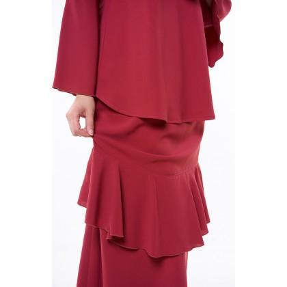 [MILA-MIYA] Kurung Modern Flared Sleeves Blouse & Ruffle Mermaid Skirt - Maroon