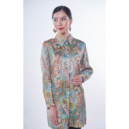 [MILA-MIYA] Esprit Paisley Print Button Tunic Top - Sky Blue