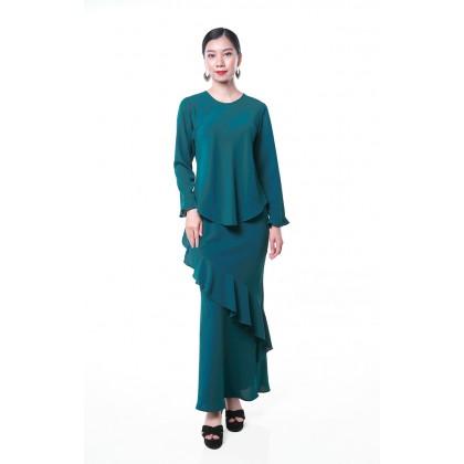 [MILA-MIYA] Kurung Modern Frill Hem Sleeves Top & Ruffle Mermaid Skirt - Dark Green
