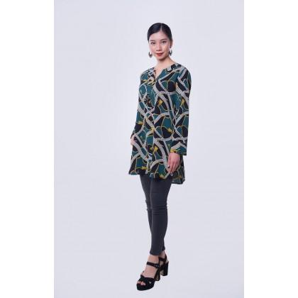 [MILA-MIYA] Geometric Print V-Collar Tunic Blouse - Forest Green