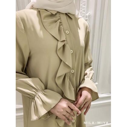 [MILA-MIYA]  Button Up Ruffle Trim Tunic Dress- Light Yellow
