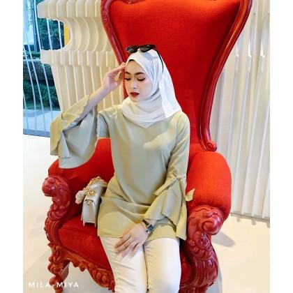 [MILA-MIYA]  Ribbon Sleeves Tunic Dress- Light Yellow