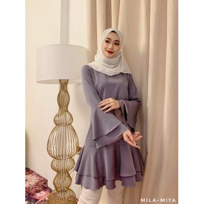 [MILA-MIYA] Layered Pleated Ruffle Sleeves & Hem Tunic Dress- Rosy Brown / Dark Lavender